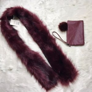 NWT Faux Fur Maroon Scarf with Express Wristlet